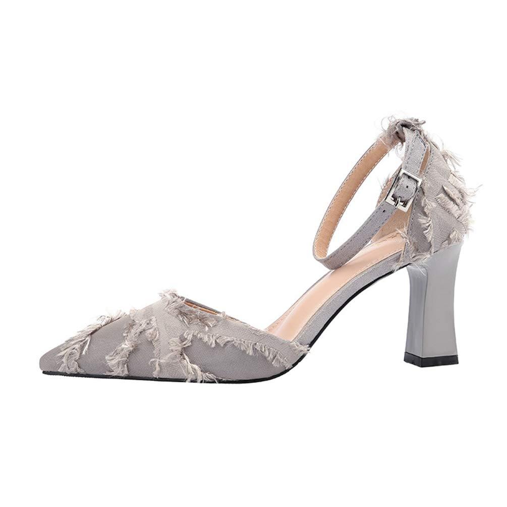 Sandales Hauts Femmes Talons Carrés Femmes Chaussures Toile Sandale Hauts Pointu Escarpin Soirée OL Élégant Sandale Gris 54dc158 - automatisms.space