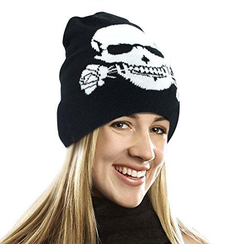EZGO Skull Printed Winter Beanie Hat - Pirate Knit Cap Skull Cap Skullies Beanie (Skull Bite Rose Printed) ()