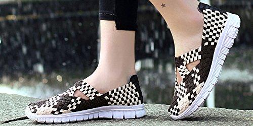 VECJUNIA Damen Elastischer Slip Auf Atmungsaktiv Bequem Handgefertigt Leichtgewicht Gewebte Sport Wasser Schuhe Braun
