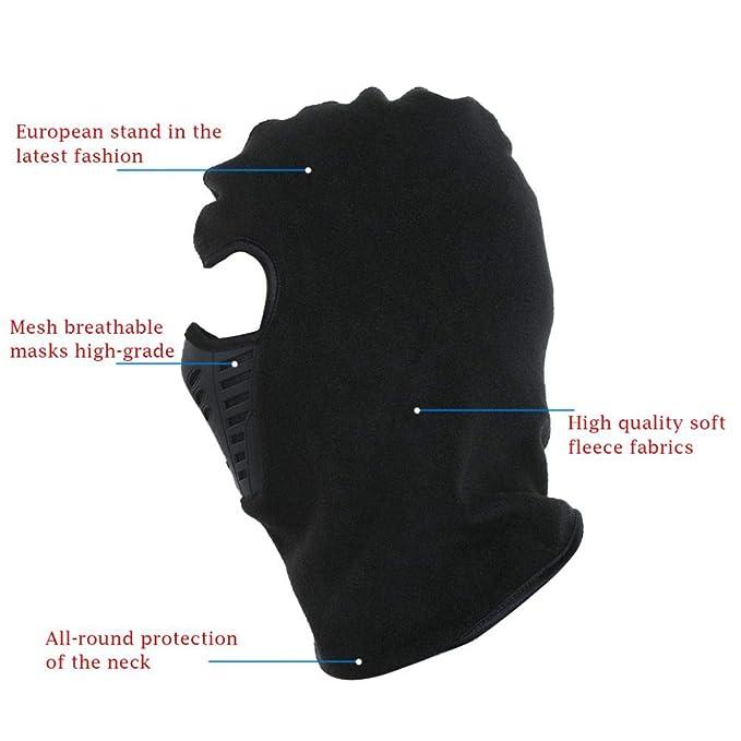 Black Thermal Fleece Balaclava Hat Hooded Neck Warmer Winter Sports Face  Mask for Men Ski Bike Motorcycle Helmet Masked Cap at Amazon Women s  Clothing store ... 3793cbf776