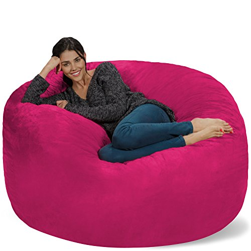Chill Sack Bean Bag Chair: Giant 5' Memory Foam Furniture Bean Bag - Big Sofa with Soft Micro Fiber Cover - Pink (Teenagers For Cool Chairs)