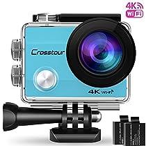 """Action Cam, Crosstour Sport WIFI Camera 1080P 2""""LCD Full HD Impermeabile 2 Batterie 1050mAh 170°Grandangolare e Kit Accessori per Ciclismo Nuoto e altri Sport Esterni (CT8000-B)"""