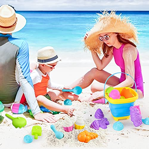 Shindel 25PCS Kids Beach Sand Toys Set, Sand Tools with Bucket Pinwheel Shovels Ice Cream Mold Set, Kids Outdoor Toys