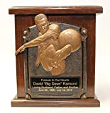 Soccer Memorial Wooden Cremation Urn-Sports Funeral Urns w/personalization