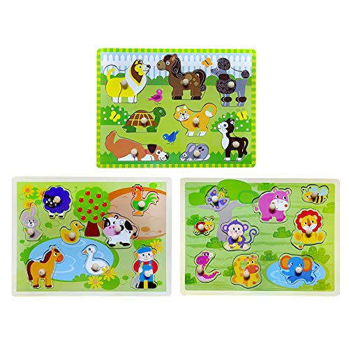 Toddler Puzzles Wooden Peg Puzzle 3 Sets - Farm, Pets and Jungle Animal Illustrations Learning Educational Toys for Toddlers Preschool 2 3 4 5 Years Old ()