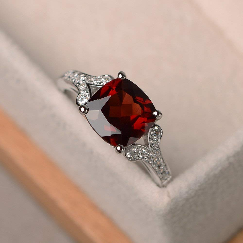 Garnet Ring With Baguette Sterling Silver Handmade Jewelry Emerald Cut January Birthstone Large
