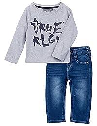 True Religion Infant Boy's Branded Long Sleeve Raglan Tee & Jeans Set