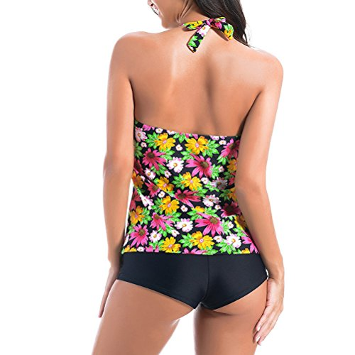 Zhuhaitf Alta calidad Adult Women's Floral Elastic Swimwear Bikini Sets Athletic Swimsuit Black