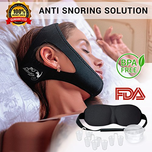 Sleepy CAT Sleep Aid Set | Includes Anti-Snoring Chin Strap (Increased Velcro 5.5 inches), Adjustable 3D Eye Mask & 4-Sizes Nose Plugs | Breathable, Itch-Free & Odour-Free, FDA (Odour Mask)