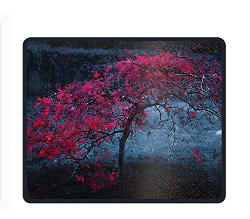 Gaming Mousepad Red Maple Leaves Laptop Mouse pad Non Slip Rubber Locked Desk Mat (Red Maple Finish)