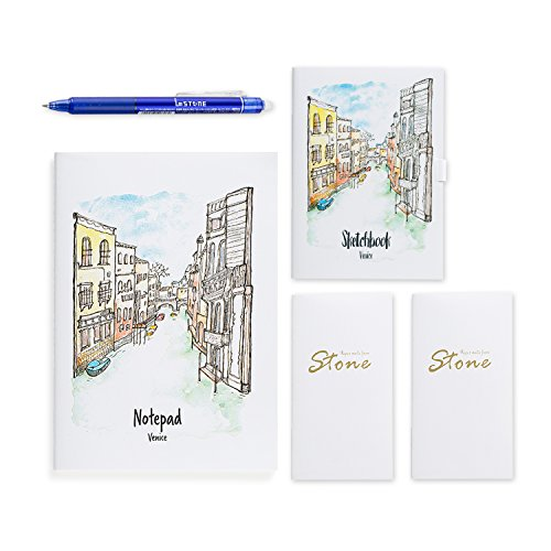 imSTONE Stone Paper Notebooks A Pack of 1Ruled Office notepad A5 and 1 Blank Drawing Notebook A6+1 Erasable Gel Pen (Blue)+2 Portable Pocket Rock Books(Venice(2)+Blue Pen)