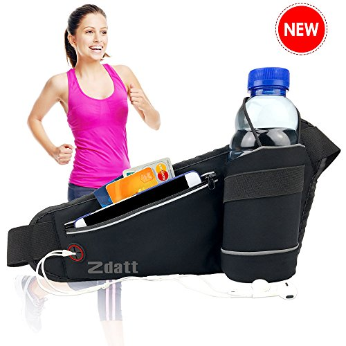 Running Waist Belt with Water Bottle Holder Fanny Workout Belt Pack with Zipper Pocket Fits for iPhone 7/6S