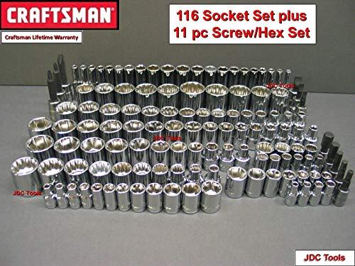 CRAFTSMAN 116pc 1/4 3/8 1/2 Dr SAE METRIC MM 6pt 12pt ratchet wrench socket set
