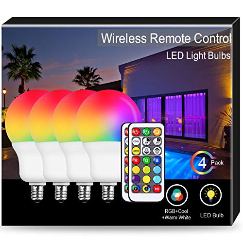 JandCase E12 RGB Candelabra Base, Cool+Warm White LED Color Changing Bulbs, 6W(40W Equivalent), 500lm, Dimmable by Remote Control, A19 Multicolor Light Bulb for Home Decor, Mood Lighting, 4 Pack