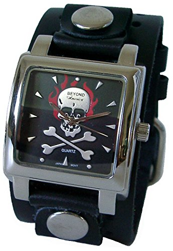 Beyond Men's Square Red Flaming Skull Watch - Black Wide Leather Cuff Band