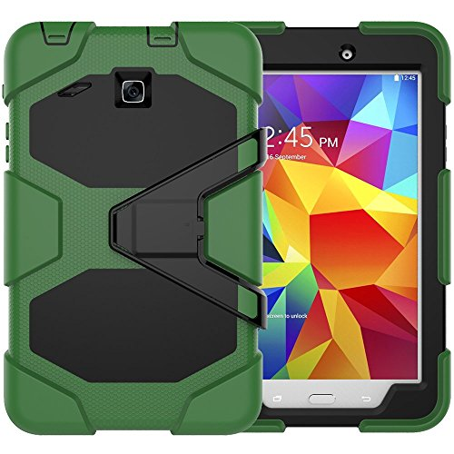 (Galaxy Tab E 8.0 Case, Beimu 3 in 1 Hard PC+Silicone Hybrid Kickstand Feature Heavy Duty Shockproof Impact Resistant Rugged Armor Defender Protection Case with Screen Protector)