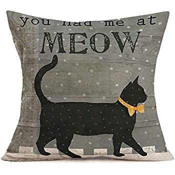 Royalours Pillow Covers Rustic Grey Wood Grain Background with Black Cat Decorative Throw Pillow Cover Quote Saying Pillow Case Cushion Cover 18 x 18 Inches Cotton Linen Outdoor Pillowslips (Meow)