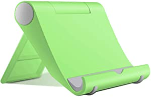 Listar Cell Phone Stand for Desk Foldable, Desk Phone Holder Stand for Office Kitchen Travel, Mobile Phone Stand for iPhone Stand Phone Dock Cradle Compatible with iPad Switch, All Smartphone (Green)