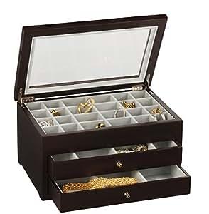 Earring Jewelry Box Storage Organizer (Espresso)