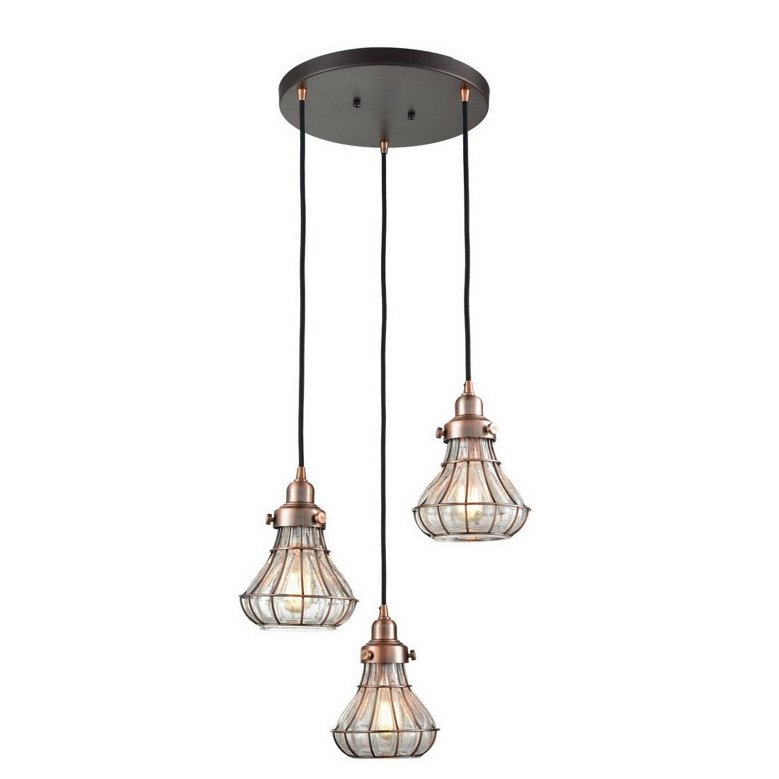 AXILAND Industrial 3-Light Cracked Glass Wire Hanging Pendant Chandeliers, Red Antique Copper