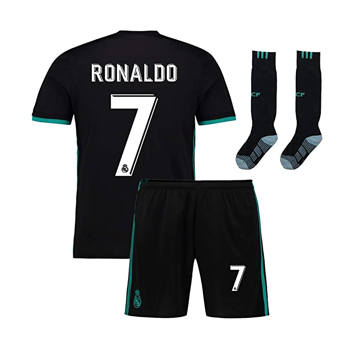 finest selection 772ba e4f6c Youth Real Madrid Ronaldo 7 Kids Soccer Jersey & Shorts Socks Home Boys  Sizes Black