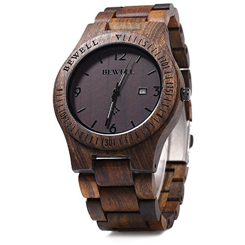 Bewell W086B Mens Wooden Watch Analog Quartz Lightweight Handmade Wood Wrist Watch (Ebony - Mens Wood