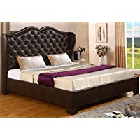 Best Quality Furniture B70 Bed Leath-Aire Platform, Queen, Saddle Brown
