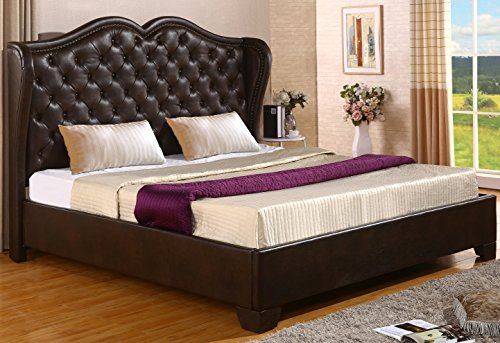 Best Quality Furniture B70 Leath-Aire Platform Bed, Cal, California King, Saddle Brown (King Cal Leather Headboard)