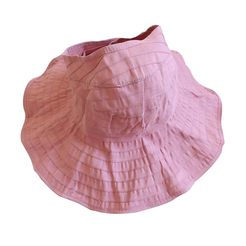 NN Children's Sun Hat - Girl Cap, Foldable, Summer, Mother and Daughter Beach Seaside Cap, Sun Protection Sun Hat Fisherman Hat Children's outdoor equipment ( Color : Leather Powder , Size : S )