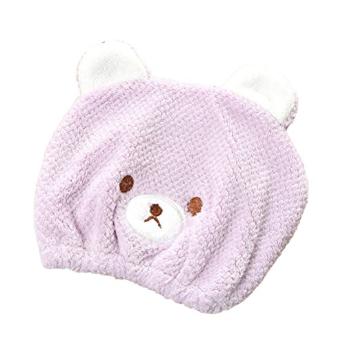 Price comparison product image Hair Drying Towel for Kids Girls, Cute Cartoon Bear Ultra Absorbent Coral Velvet Children Dry Hair Hat Fast Drying Bath Shower Head Towel Wrap Bathing Spa Swimming Turban Hat Dry Cap Towels Gift