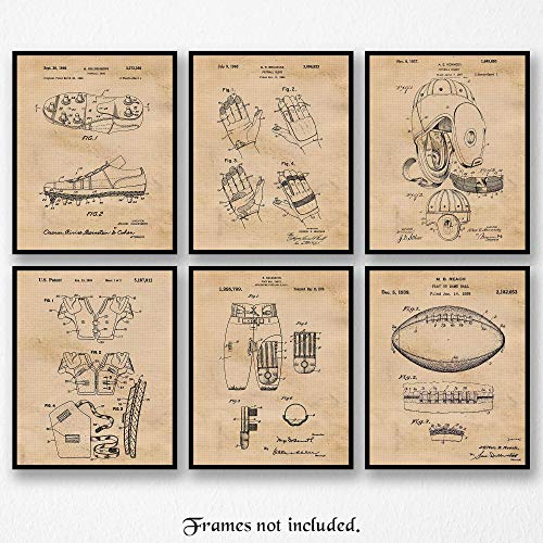 (Original Football Patent Art Poster Prints - Set of 6 (Six Photos) 8x10 Unframed - Great Vintage Wall Art Decor Gifts Under $20 for Home, Office, Garage, Man Cave, Gym, Teacher, Coach, Pigskin Fan)