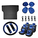 Scitoo 12-PCS Trunk Liner Floor Mat Mesh Black/Blue Car Seat Cover W/Belt Pads/Steering Wheel Cover for Heavy Duty Vans Trucks