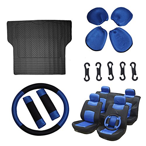Scitoo 12-PCS Trunk Liner Floor Mat Mesh Black/Blue Car Seat Cover W/Belt Pads/Steering Wheel Cover for Heavy Duty Vans Trucks by Scitoo