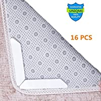 Rug Grippers For Hard Floors, Carpet Gripper For Area Rugs 16 PCS Anti Curling Stop Slipping Rug Pad with Reusable Gripper Tape Ideal Alternative Carpet Tape for Corners and Edges Premium Rug Stopper