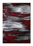Masada Rugs, Modern Contemporary Area Rug, Red Grey Black (5 Feet X 7 Feet)