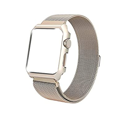 iTerk Compatible Apple Bands with Frame,Milanese Mesh Loop Stainless Steel Metal Replacement Wristband Bracelet Strap Magnetic Buckle Case Bumper Compatible iWatch Apple Watch Series 4/3/2/1