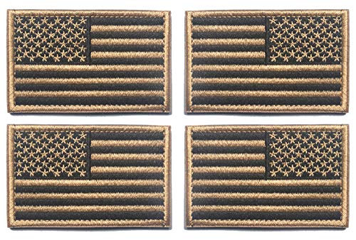 Antrix 4 Pcs Coyote Brown Regular and Reversed American US USA Flag Embroidered Patch Tactical Military United States of America Uniform Emblem Applique Hook & Loop Morale Patch for Backpacks Cap Vest