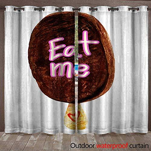 Door/Gazebo Curtain Watercolour Illustration of Chocolate bar ice Cream Waterproof CurtainW108 x L96