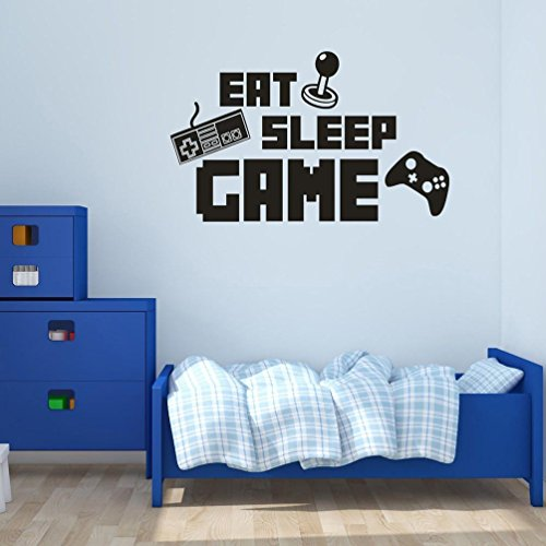 BIBITIME DIY English Sayings Quotes EAT SLEEP GAME Wall Decal Keyboard Handle Silhouette Sticker for Boys Bedroom Kids Room Decor Internet Bar Video Arcade Art - Decals Boys Wall For