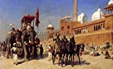 WEEKS GREAT MOGU COURT RETURNING MOSQUE DELHI INDIA ARTIST PAINTING OIL CANVAS 26x40inch