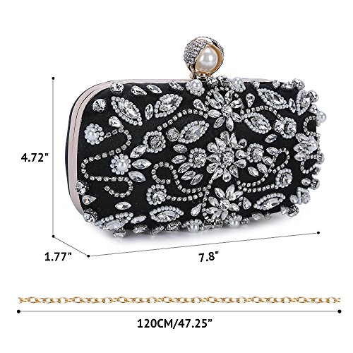 1 Beaded Noble Bag Clutch Evening Crystal Chichitop Black Wedding Women Purse OBwqTT
