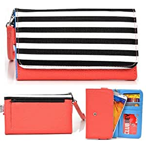 EXXIST® Metro Safari Series. Faux Leather Clutch / Wallet for Yezz Andy AZ4.5 (Color: Zebra stripes / Coral) -ESMLMTC1