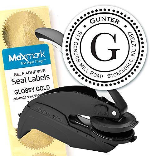 (Custom Monogram Address Embosser - Personalized Round Seal with 50 Gold Seal Labels - Style EM014)