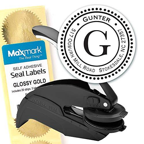 Custom Monogram Address Embosser - Personalized Round Seal with 50 Gold Seal Labels - Style EM014 (Custom Artwork Embosser)