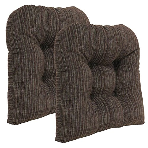 Klear Vu Polar Overstuffed Universal Tufted No Slip Dining Chair Pads, 2 Pack, Chocolate