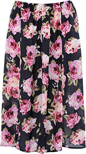 KK Fashion Lines - Falda - trapecio - para mujer Navy Pink