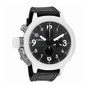 U-Boat 7095 Men's Flightdeck Auto Chron Black Alligator & Rubber Carbon Fiber Dial Watch