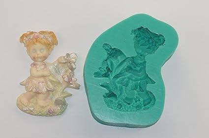 kbksiliconemoulds Caucho de silicona Sugarcraft Moldes Decoración de Pasteles Moldes Oficios Icing isomalt niña pequeña