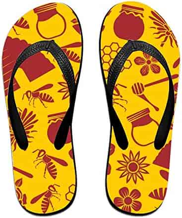 aed09ae90ae6 OHFSCTN Coloranimal Black Waving Printed Flip Flops for Adult Children  Classic Slipper