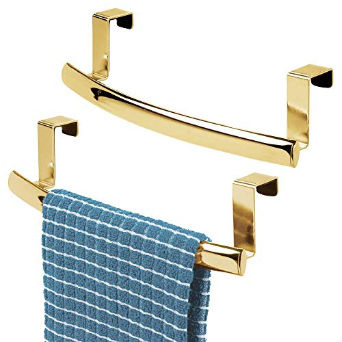 mDesign Modern Metal Kitchen Storage Over Cabinet Curved Towel Bar Rack - Hang on Inside/Outside of Doors, Organize & Hang Hand, Dish, and Tea Towels - Also for Bars - 9.7 Wide, 2 Pack - Soft Brass